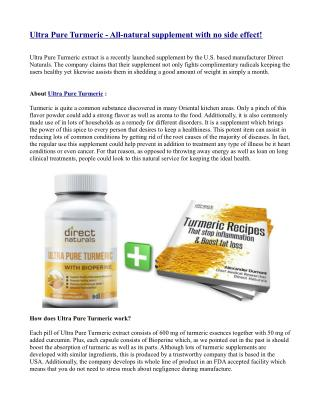 Ultra Pure Turmeric - All-natural supplement with no side effect!