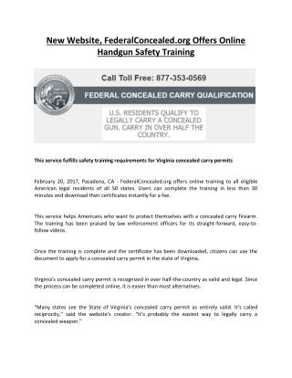 Federal Concealed carry qualification to legally carry concealed Gun. Get it in less than 30 minutes. Apply Now!