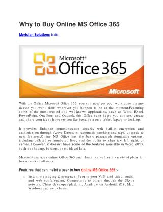 Why to Buy Online MS Office 365
