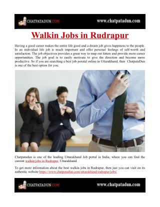 Walkin Jobs in Rudrapur