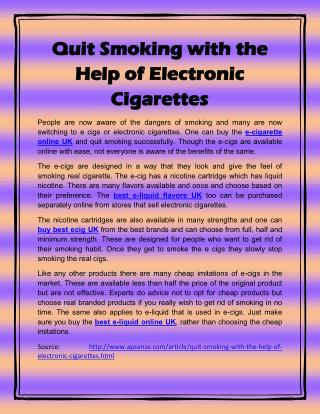 Quit Smoking with the Help of Electronic Cigarettes