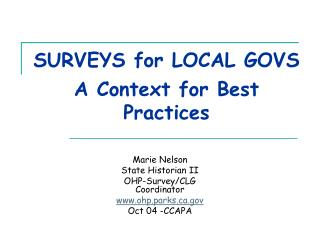 SURVEYS for LOCAL GOVS  A Context for Best Practices