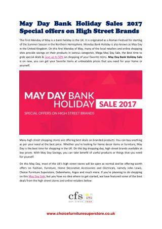 May Day Bank Holiday Sales 2017 | Offers on High Street UK Brands