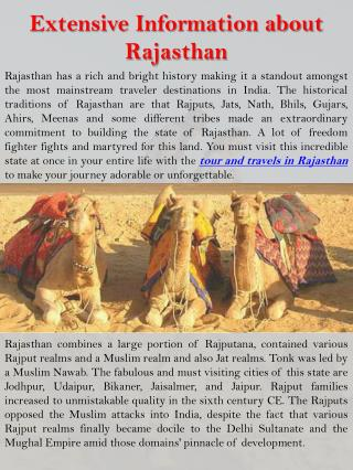 Extensive Information about Rajasthan