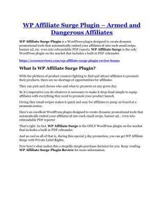 WP Affiliate Surge Plugin Review & (Secret) $22,300 bonus