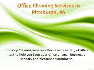 Office Cleaning Services In Pittsburgh PA