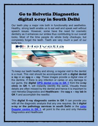 Go to Helvetia Diagnostics digital x-ray in South Delhi