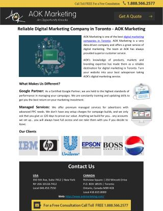 Reliable Digital Marketing Company in Toronto - AOK Marketing