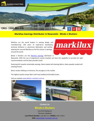 Markilux Awnings Distributer in Newcastle - Blinds n Shutters