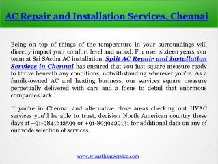 Split AC Repair and Installation Services in Chennai