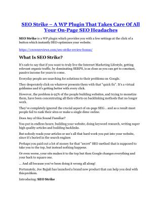 SEO Strike review - SEO Strike (MEGA) $23,800 bonuses