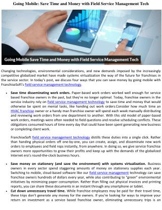 Going Mobile: Save Time and Money with Field Service Management Tech