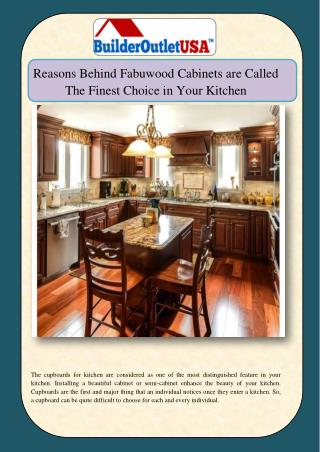 Reasons Behind Fabuwood Cabinets are Called The Finest Choice in Your Kitchen