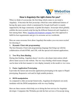 How Angularjs is the right choice for you