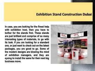 Exhibition Stand Construction Dubai