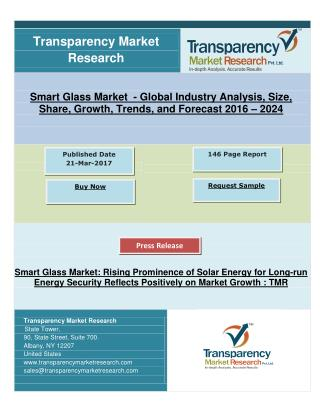 Smart Glass Market: Rising Prominence of Solar Energy for Long-run Energy Security, Research 2024