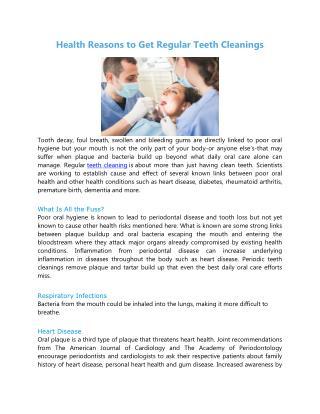 Health Reasons to Get Regular Teeth Cleanings