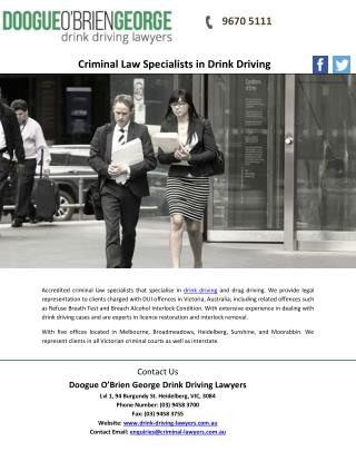 Criminal Law Specialists in Drink Driving