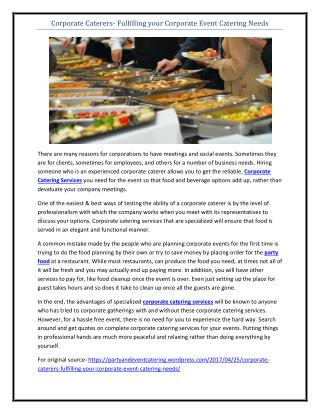 Corporate Caterers- Fulfilling your Corporate Event Catering Needs