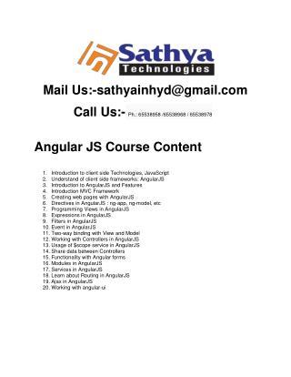 Angular JS Course Content