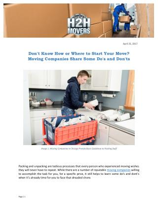 Don't Know How or Where to Start Your Move? Moving Companies Share Some Do's and Don'ts