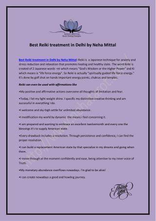 Best Reiki treatment in Delhi by Neha Mittal