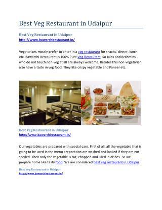 Best Veg Restaurant in Udaipur