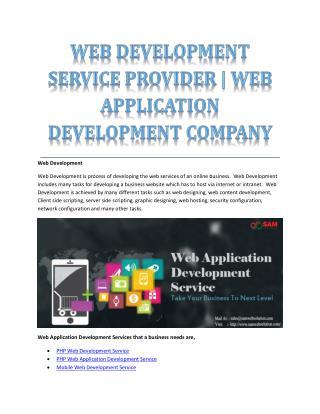 WEB DEVELOPMENT SERVICE PROVIDER | WEB APPLICATION DEVELOPMENT COMPANY