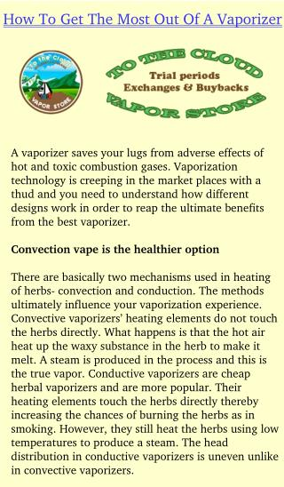 How To Get The Most Out Of A Vaporizer