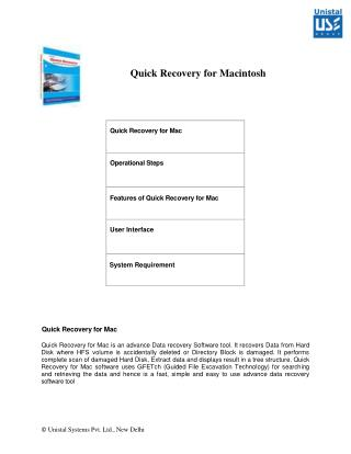 White Paper for Unistal Mac Data Recovery Software