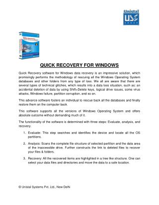 White Paper for Unistal Windows Data Recovery Software