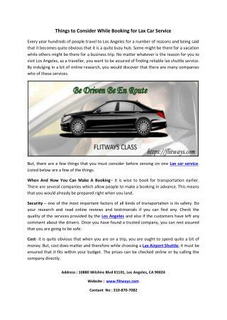 Car Service Lax