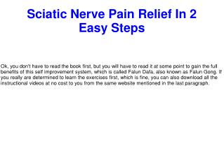 Sciatic Nerve Pain Relief In 2 Easy Steps