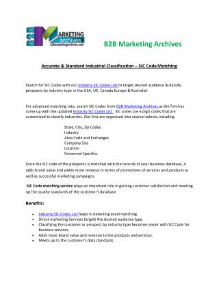 SIC Code Matching Services | B2B Marketing Archives