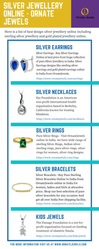 Silver Jewellery - Buy Sterling Silver Jewellery Online in india at pocket-friendly prices