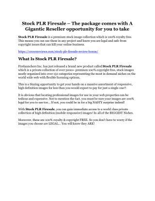 Stock PLR Firesale Review-$9700 Bonus & 80% Discount