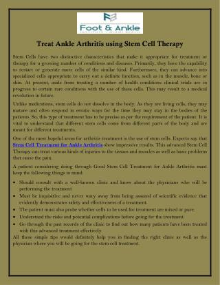 Treat Ankle Arthritis Using Stem Cell Therapy