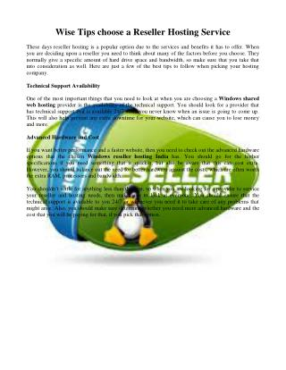 Wise Tips choose a Reseller Hosting Service