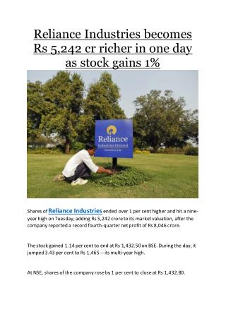 Reliance Industries becomes Rs 5,242 cr richer in one day as stock gains 1%