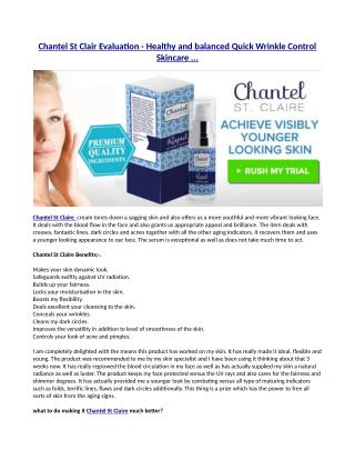 Regarding the Chantel St Claire product!