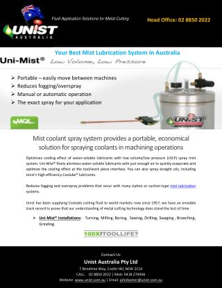 Your Best Mist Lubrication System In Australia