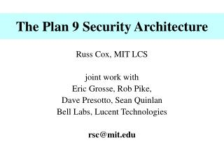 The Plan 9 Security Architecture