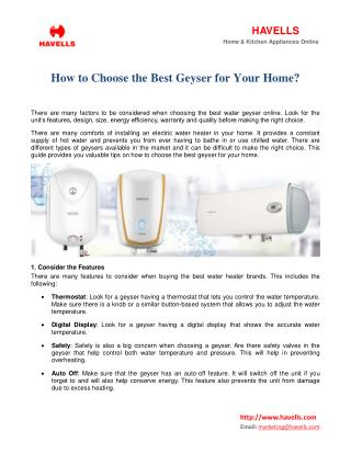 How to Choose the Best Geyser for Your Home?