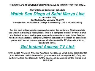 San Diego at Saint Marys live | Men's College BB | NCAA spor