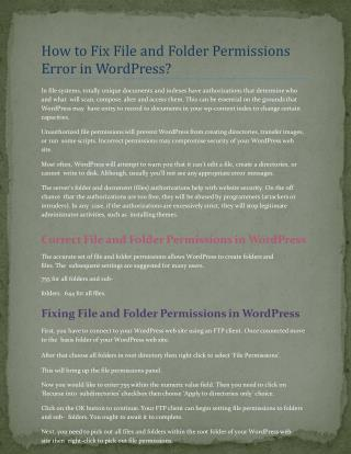 How to Fix File and Folder Permissions Error in WordPress
