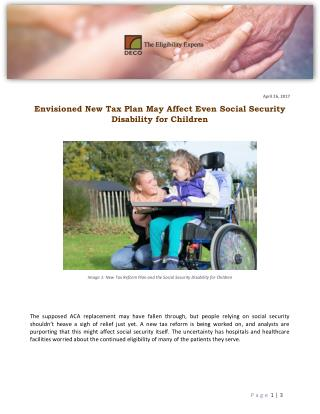 Envisioned New Tax Plan May Affect Even Social Security Disability for Children