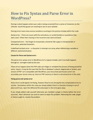 How to Fix Syntax and Parse Error in WordPress