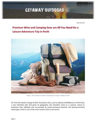 Premium Wine and Camping Gear are All You Need for a Leisure-Adventure Trip in Perth