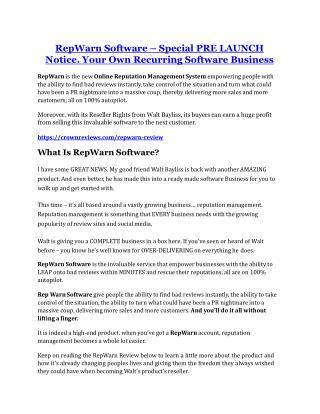 RepWarn review and (SECRET) $13600 bonus