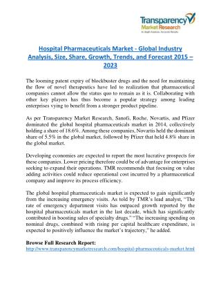 Hospital Pharmaceuticals Market will rise to US$ 280.3 Billion by 2023